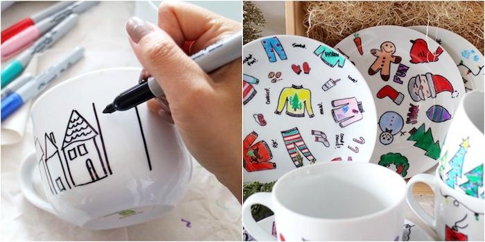 deco de noel a faire soi meme avec recup, tasses et assiettes blanches décorés aux marqueurs permanents, indélébiles, motifs colorés