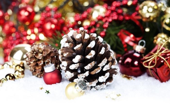 activite de noel avec des pommes de pin, décorés de neige artificielle, boules de noel et sapin vert décoré