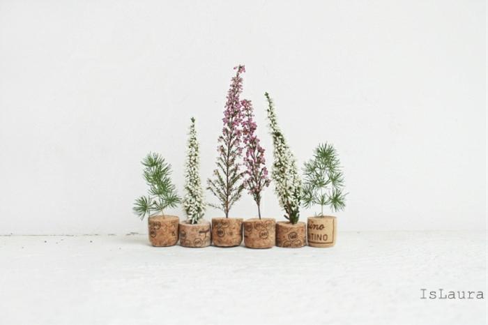 Mignonne idée de petits arbres de fleur et liège bouchon diy plant déco liège pot cool idée décoration avec bouchons liège