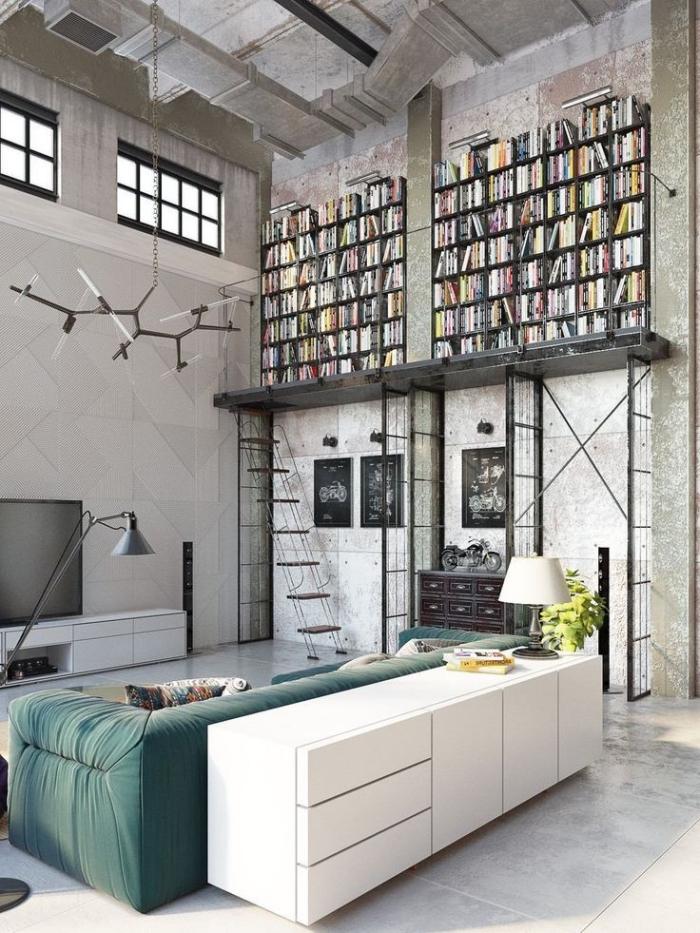 idee deco salon, aménagement loft aux murs et plancher gris clair avec petites fenêtres à carreaux noires