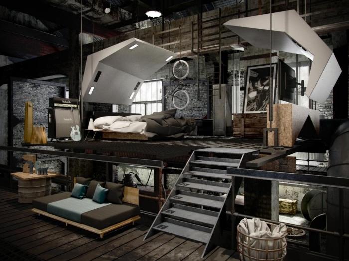 decoration d interieur, loft industriel aux murs à design briques grises et plancher en bois foncé avec tuyaux apparents