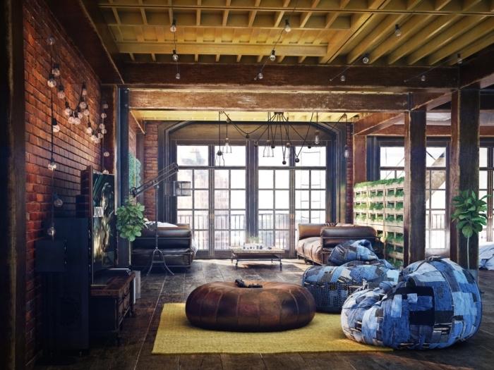 meuble industriel, déco intérieur loft aux murs marron et plancher bois foncé, canapé en cuir marron avec table basse en bois