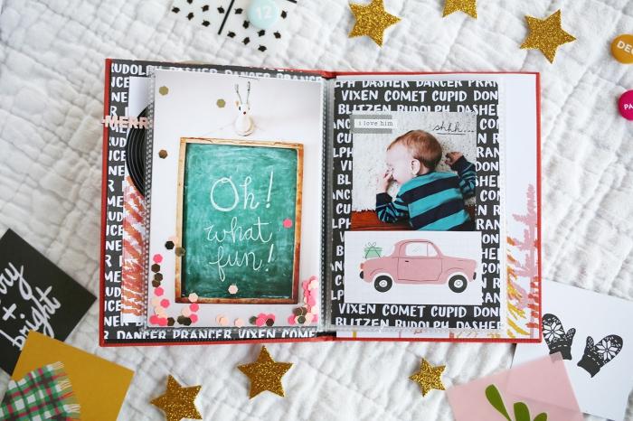 exemple scrapbooking, album photo bébé aux pages blanches personnalisées à design magicien avec dessin voiture rose