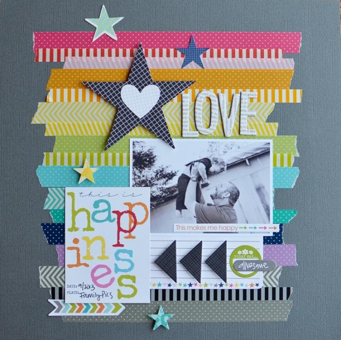 créer un album photo, page scrapbooking avec photo en blanc et noir décorée de rubans adhésifs en différentes couleurs
