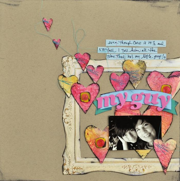 carte postale personnalisée, page scrapbooking sur papier recyclé avec coeurs rouges et cadre photo vintage