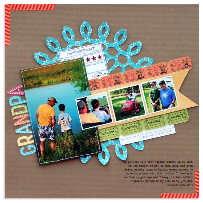 activités manuelles, exemple de scrapbooking sur papier recyclé avec photos en familles et embellissement en papier