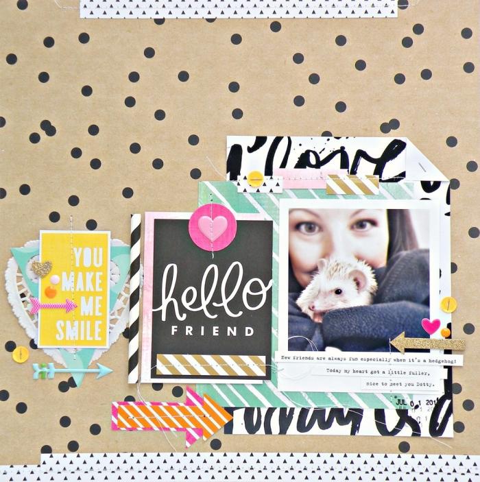 carte postale personnalisée, photo sur papier beige à points noirs avec lettres inspirantes et figurines en papier