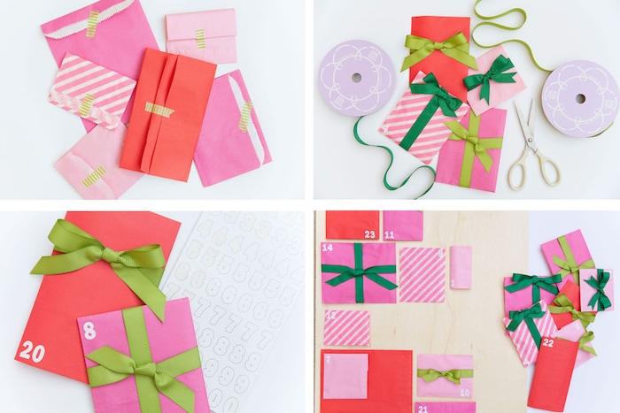 calendrier de l avent a faire soi meme en enveloppes rose et rouges avec des rubans verts sur une planche de bois