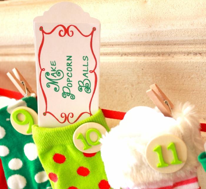 calendrier de l'avant à fabriquer, chaussettes utilisées pour un calendrier de Noel