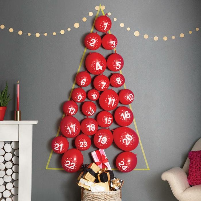 calendrier de l'avent, sapin fait avec des ballons, idées originale calendrier hadcraft