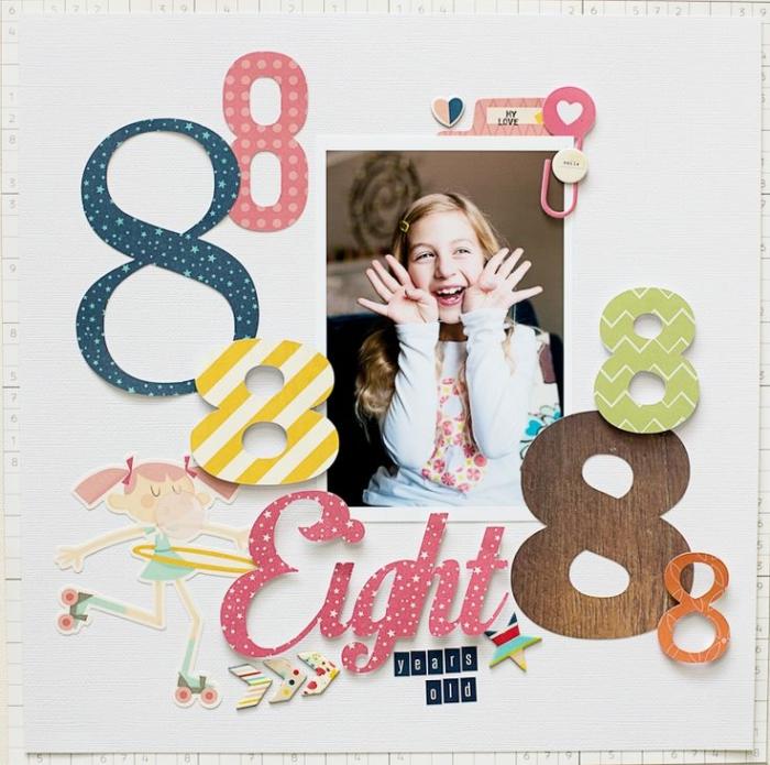 exemple scrapbooking, page personnalisée avec photo enfant et lettres en papier multicolore avec stickers mignons