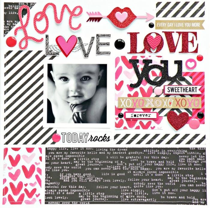 loisir creatif, page scrapbooking digitale en rouge et noir, collage avec photo blanc noir et lettres rouges