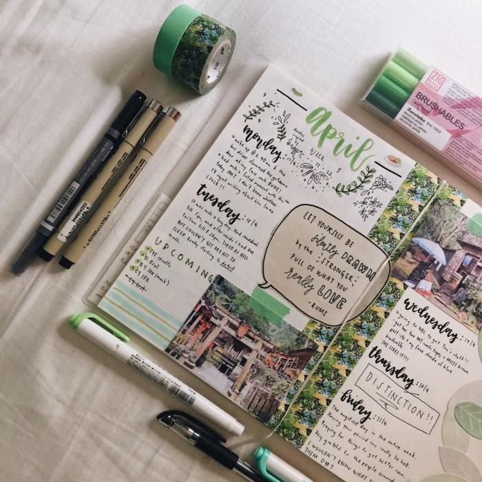 matériel scrapbooking, comment faire un carnet avec photos et notes personnelles, cahier aux pages blanches et lettres noires