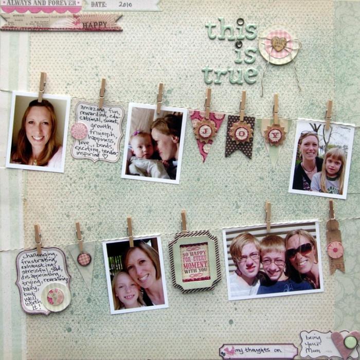 activité manuelle maternelle, réaliser un projet scrapbooking avec papier coloré et photos imprimés mère et enfant