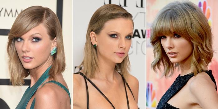 carré plongeant cheveux fins, coiffures superbes pour cheveux fins, maquillage yeux bleus