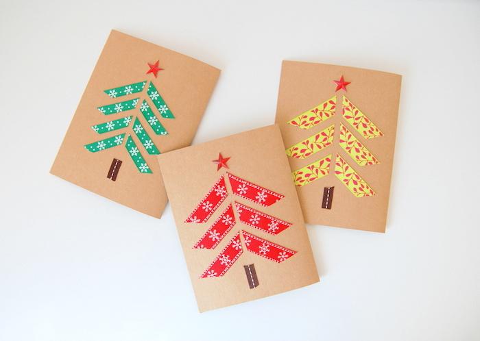 modele de carte de noel maternelle, sapin de noel en bandes de washi tape sur du papier craft, bricolage enfant facile