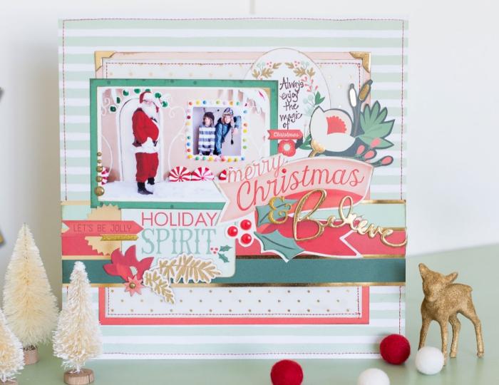 carte postale personnalisée, carte scrapbooking rayée en blanc et vert avec photos enfant et père Noel
