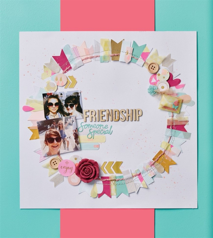 idée scrapbooking pour surprendre sa meilleure amie, faire une page personnalisée avec photos et coupures en papier
