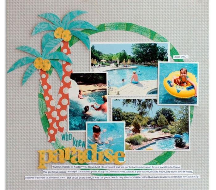 matériel scrapbooking, déco avec photos en famille, organiser les photos de vacances avec déco en papier