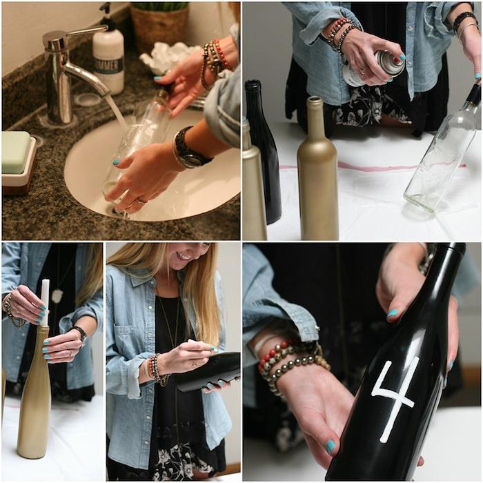 diy mariage centre de table en bouteilles de vin repeintes couleur or et noire pour fabriquer un bougeoir et vase des fleur