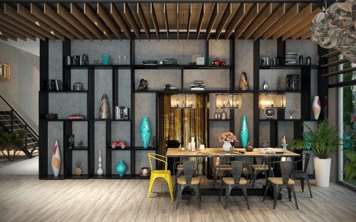 mobilier industriel, décoration de salle à manger loft aux murs béton et plancher bois clair avec meubles en bois et noir
