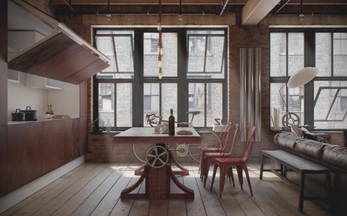 suspension luminaire, aménagement de cuisine loft ouverte vers le salon aux murs et meubles en marron foncé