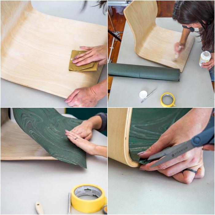 tuto pour un customiser un meuble en bois avec du papier décoratif effet marbre, une chaise de bureau customisée avec la technique de décopatch