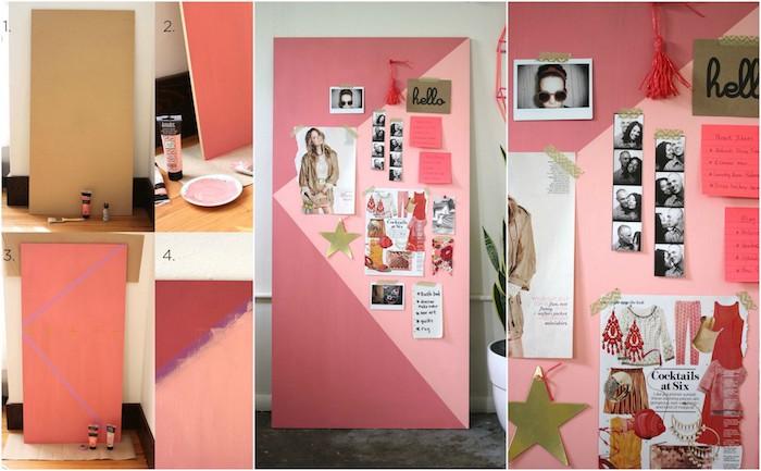 activité manuelle pour ado, diy deco chambre, planche en bois repeinte en rose, afficher des photos, acccents déco et notes importantes