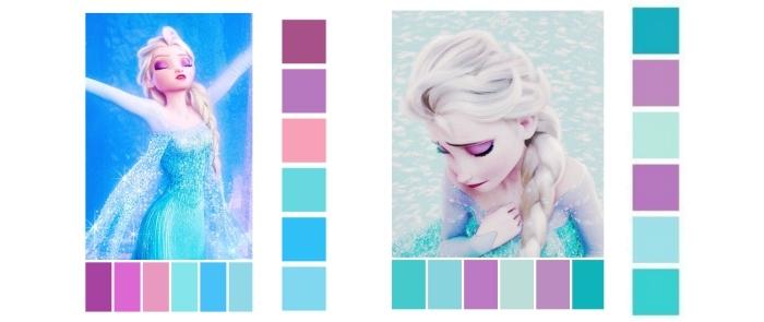 deco chambre fille, couleurs pour peindre les murs chambre d'enfant, palettes nuances pour déco royaume elsa