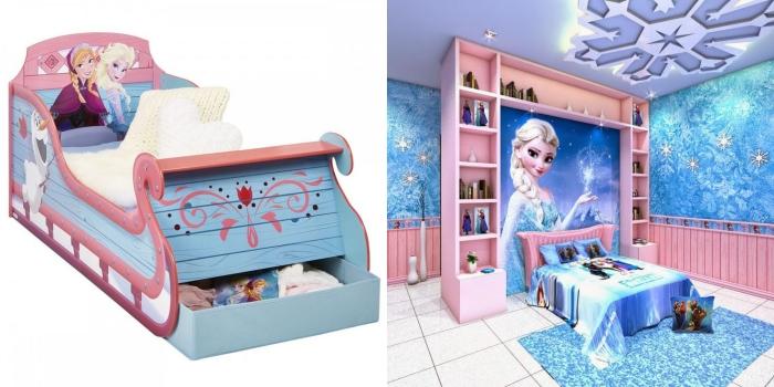 armoire fille, chambre d'enfant aux murs revêtus en papier peint à design frozen avec carrelage blanc et tapis bleu étincelant