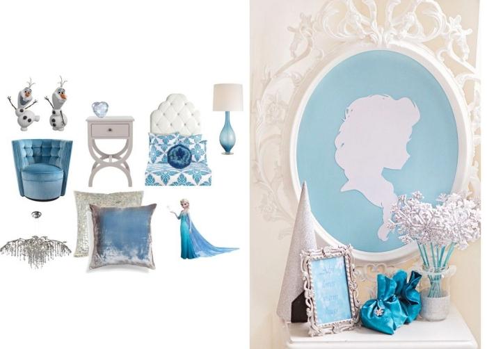 figurine reine des neiges, cadre photo à design vintage, coussin décoratif en velour bleu et beige, fauteuil bleu avec dos boutonné