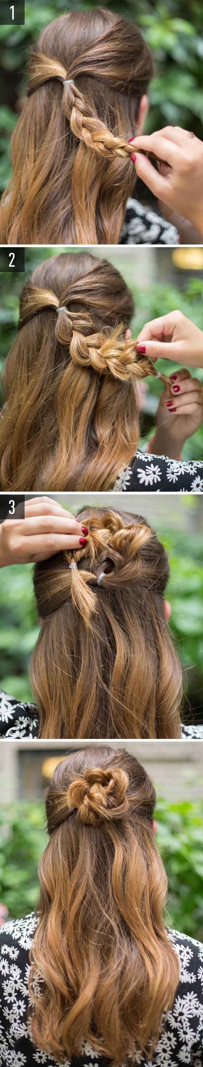 chignon facile en forme de fleur pour une coiffure cheveux longs originale et romantique réalisé en peu de temps