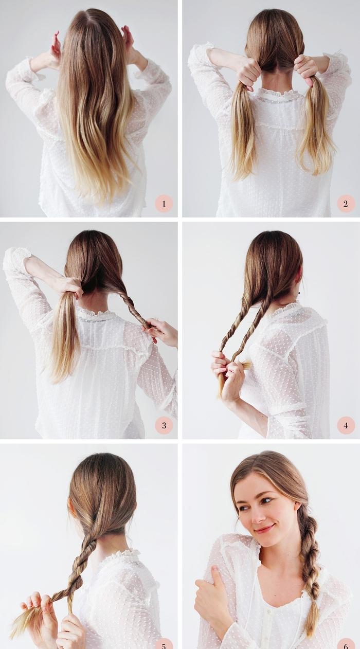 tuto tresse sans tresser pour réaliser une coiffure simple en peu de temps avec deux mèches torsadées