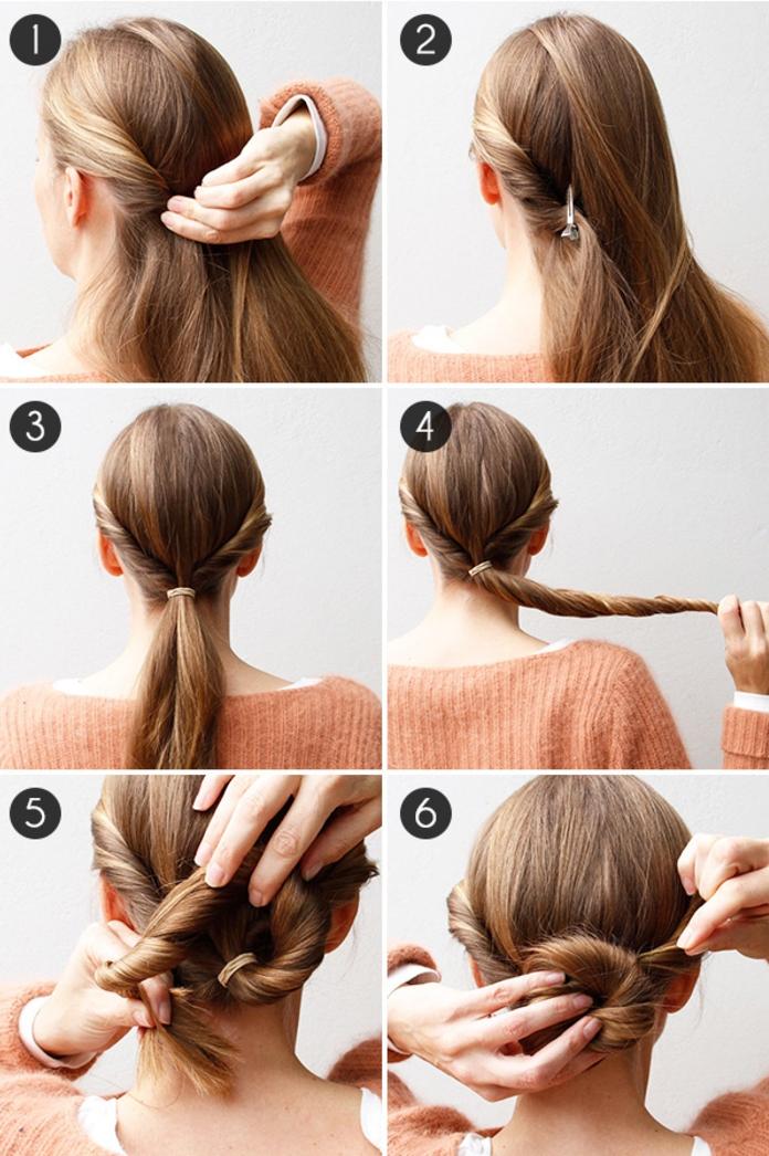 tuto coiffure pour réaliser un chignon facile en moins de cinq minutes à partir d une queue-de-cheval basse