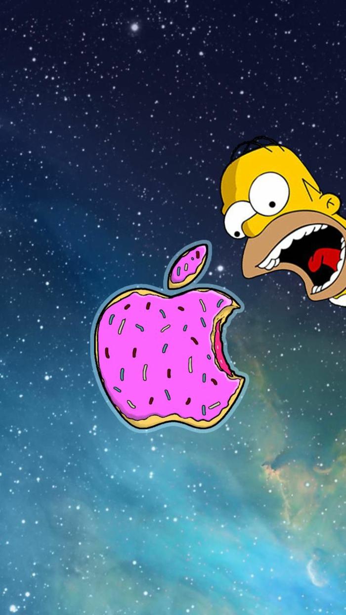 Beau fond d écran iphone image à télécharger gratuite images Homar Simpson et son donut drome image fond d ecran beignet