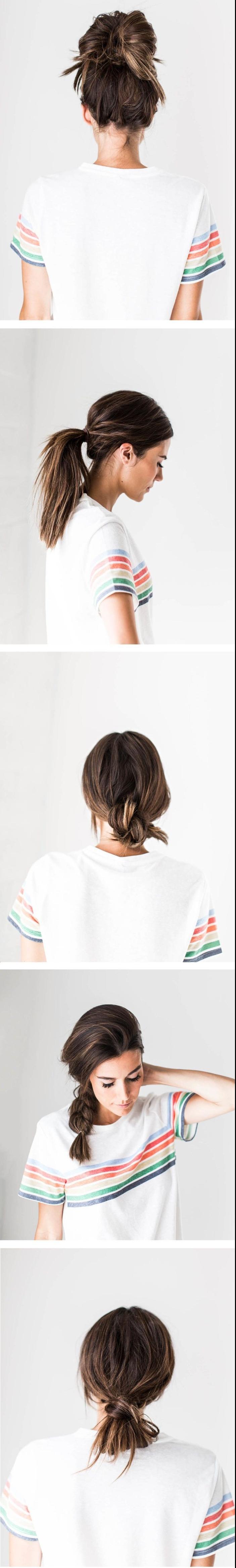 cinq idées pour une coiffure simple cheveux mi long pour ces jours où le temps presse, cinq coiffures attachés pour des cheveux sales