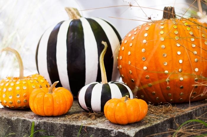 modele citrouille halloween, décoration citrouille avec peinture blanc et noir, citrouille orange avec studs dorés
