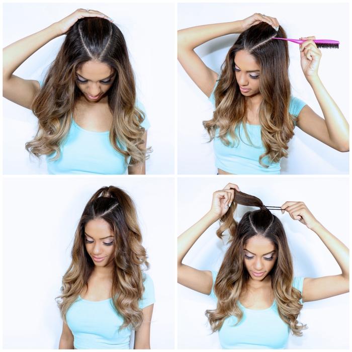 une coiffure simple et rapide pour donner du volume aux cheveux fins avec une demi queue-de-cheval haute et des longueurs bouclées