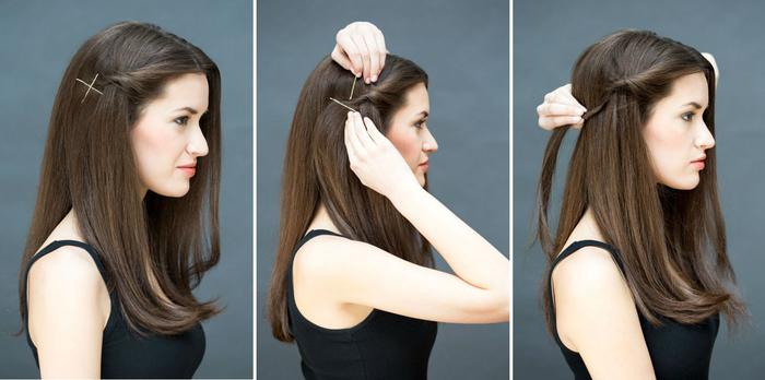 coiffure simple et rapide avec une mèche de côté et quelques barrettes plates