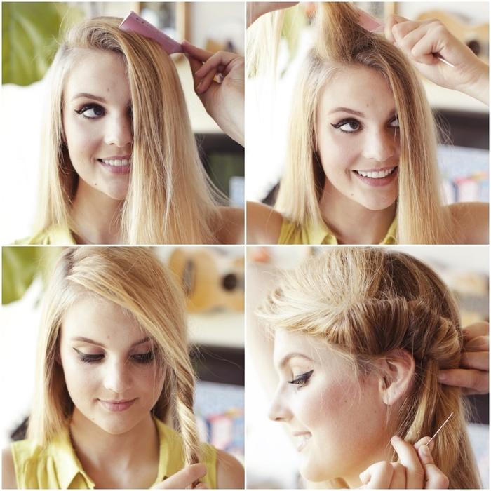 une coiffure cheveux attachés en chignon roulé de côté, idéale pour un look de vacances décontracté