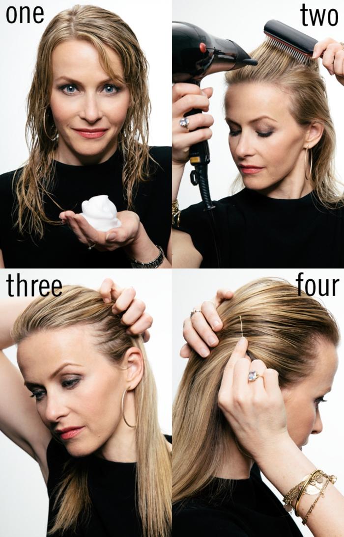 une coiffure chevuex mi longs pour un effet plaqué et parfaitement lisse, réalisé avec un peu de gel et un sèche chevuex