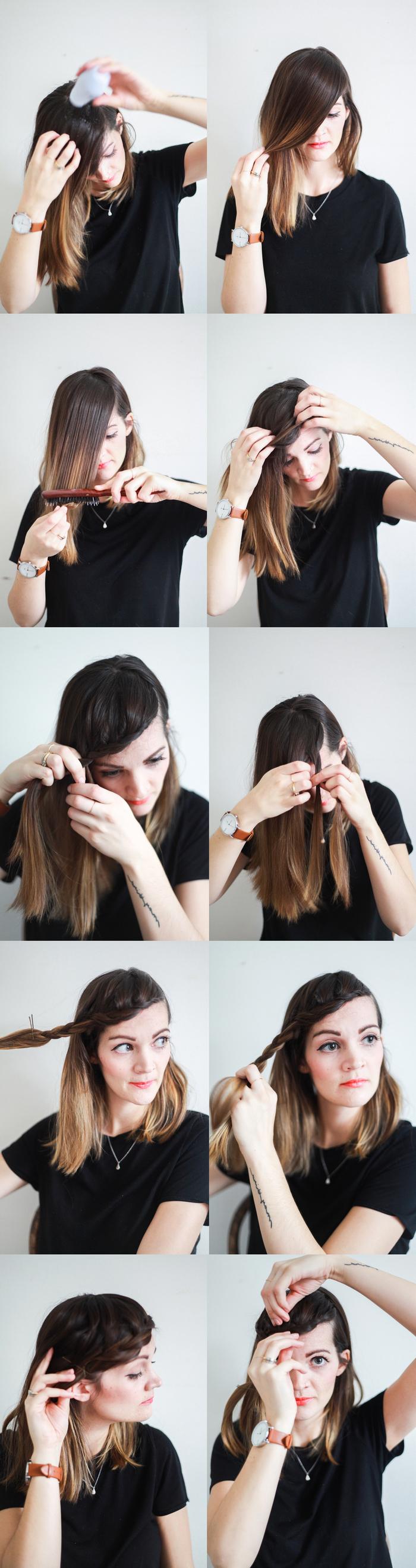 comment réaliser une frange tressée et joliment texturée pour sublimer une coiffure cheveux mi longs