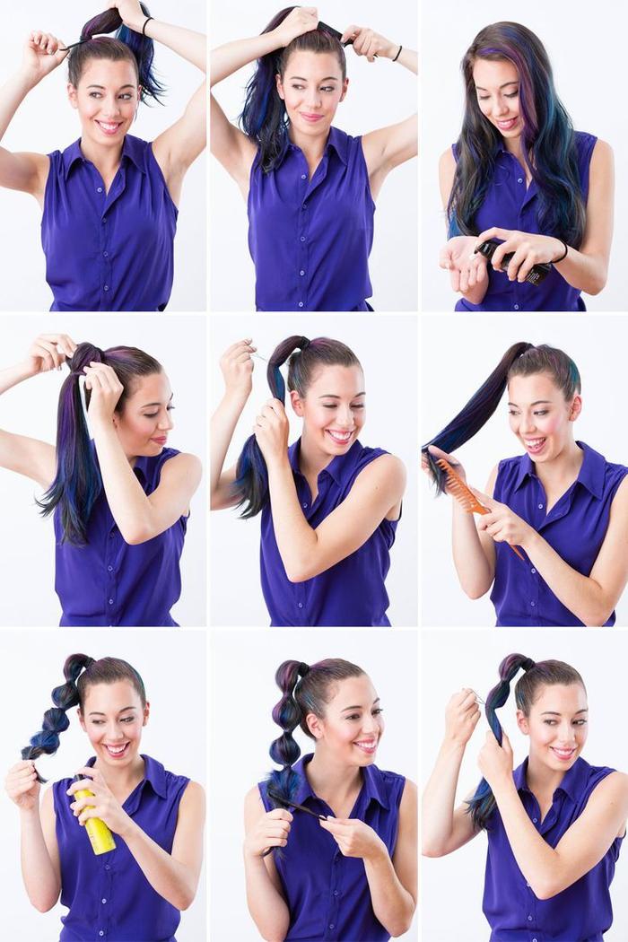 coiffure simple et rapide avec une queue-de-cheval bulles pour donner une touche d'originalité à votre look