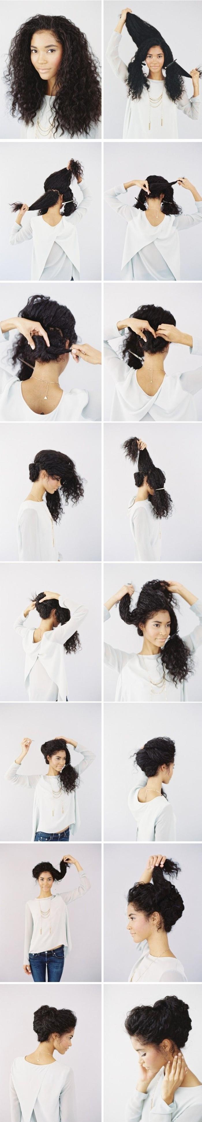 coiffures cheveux longs et naturellement frisées, coiffure de mariée en chignon frisé