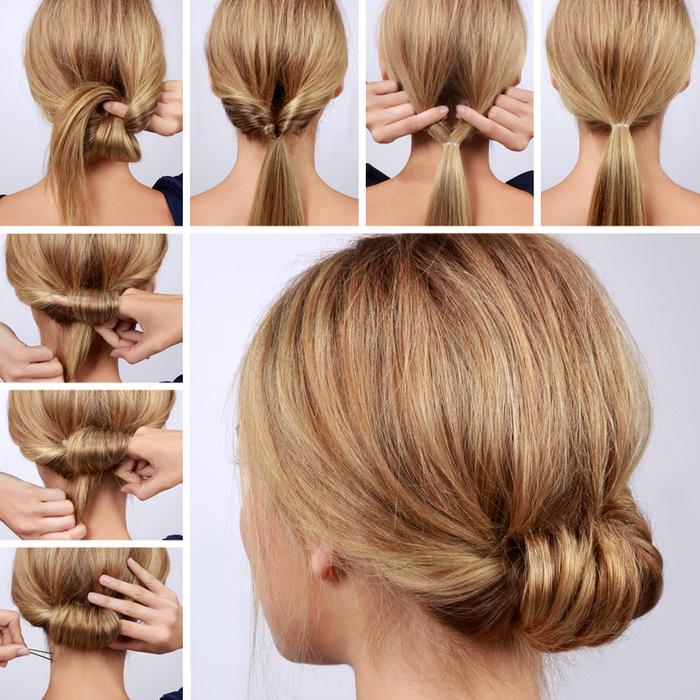 idée coiffure cheveux attachés en chignon enroulé en bas de la nuque qui convient aussi bien à un style chic que décontracté