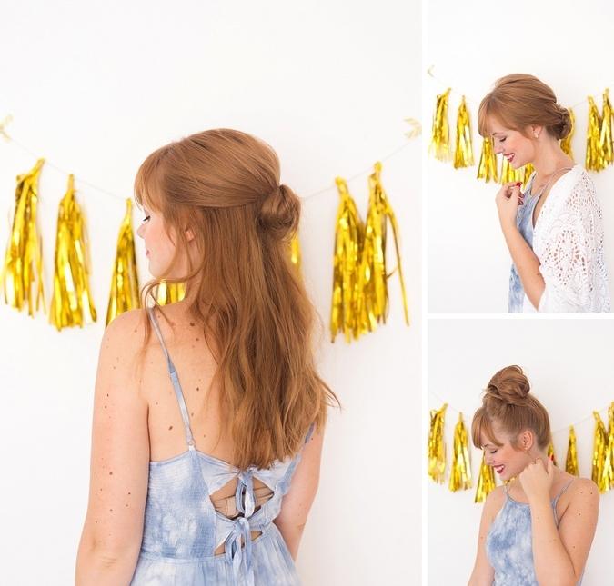 trois coiffures cheveux longs avec chignon flou à réaliser avec la texture naturelle des cheveux