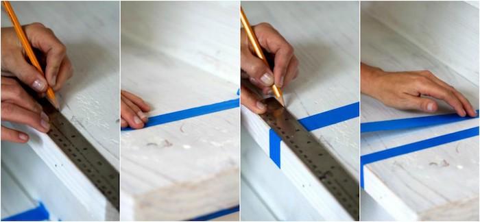 tutoriel comment repeindre un escalier avec des bandes de washi tape pour créer des motifs à rayures colorées, bricolage facile sur escalier blanchi
