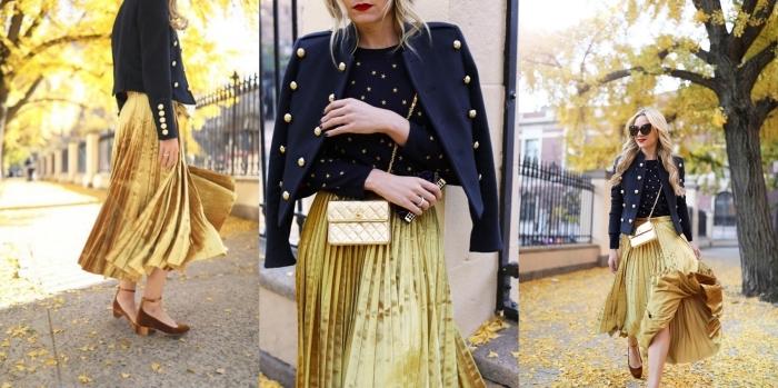 melange de couleur, jupe longue dorée avec blouse blazer en bleu foncé et or, coupe de cheveux longs et bouclés