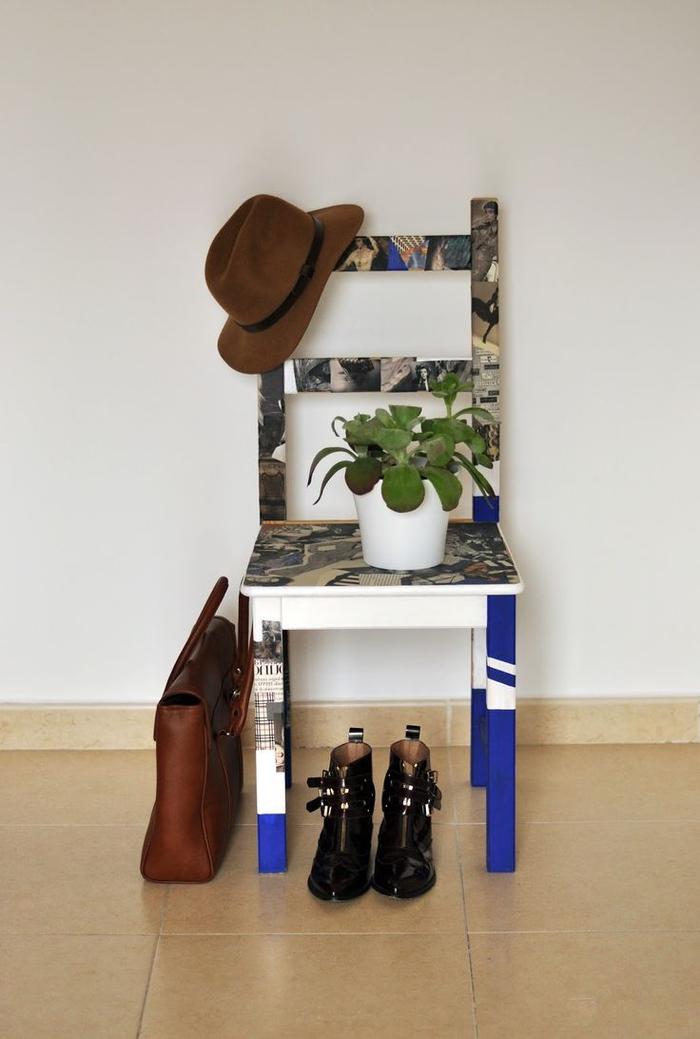 comment customiser un meuble ikea de façon originale, une chaise en bois personnalisée avec des coupures magazines