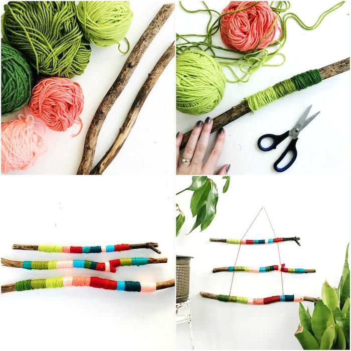 bois flotté tuto, branches de bois avec de la laine colorée enroulée autour, decoration murale a suspendre